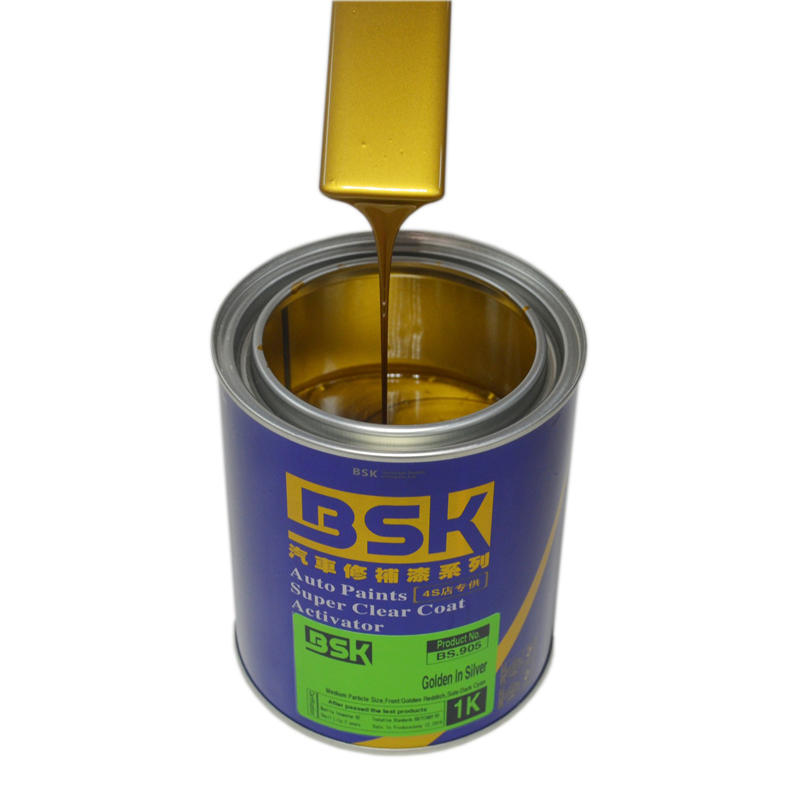 China Brand 1K Strong Hiding Cover Power Golden Silver Color Metallic Paint For Auto Refinish